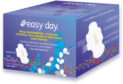 Serviettes Easy Day Flux Abondant avec Ailes